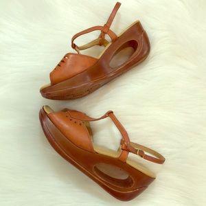 Vintage 70's Wedge Sandals- 6